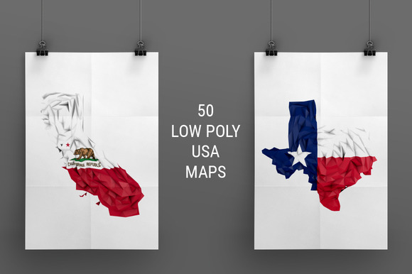 50 Low Poly USA Maps