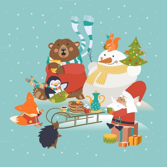 Cute Animals Celebrating Christmas