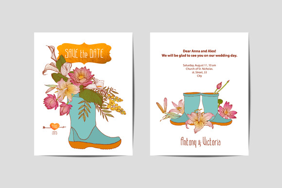 Wedding Invitation.Flowers In A Boot