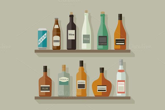 Bottles Of Alcoholic Beverages