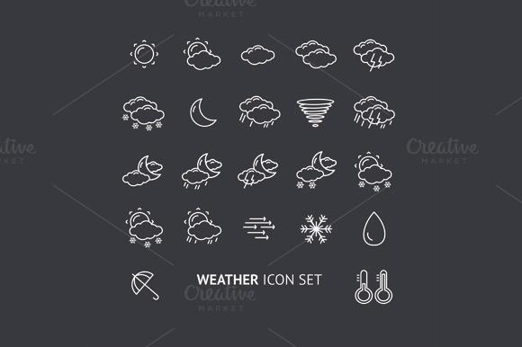 Weather Icon Set. Vector - Icons