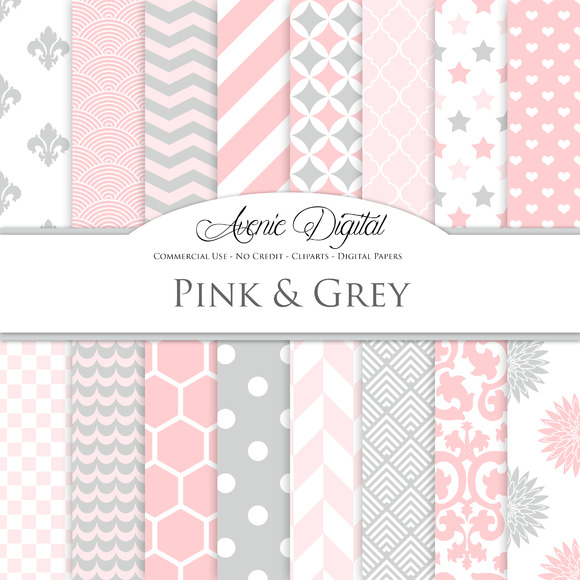 Pink And Grey Digital Paper Patterns