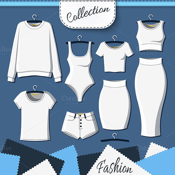 Set Of White Clothes To Create Desig