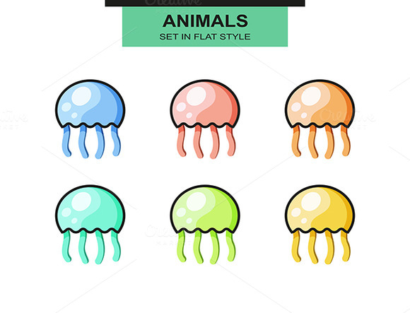 Set Of Jellyfish In A Flat Style Wit
