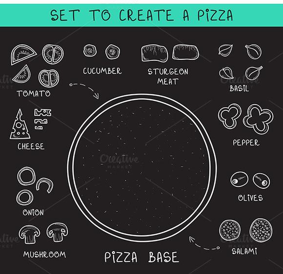 Doodle Set Ingredients Of Chalk To C