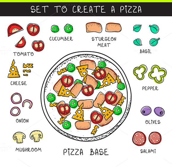 Doodle Set Of Ingredients To Build