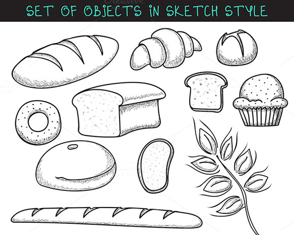 Set Of 10 Doodle Bread Baking Sketc