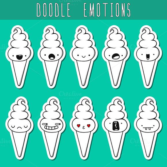 Set Of 10 Sticker Doodle Ice Cream W