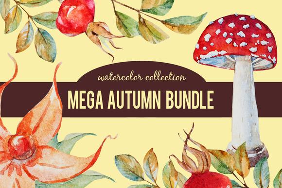 Mega Autumn Watercolor Bundle