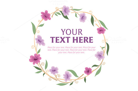 Floral Wreath With Space For Text