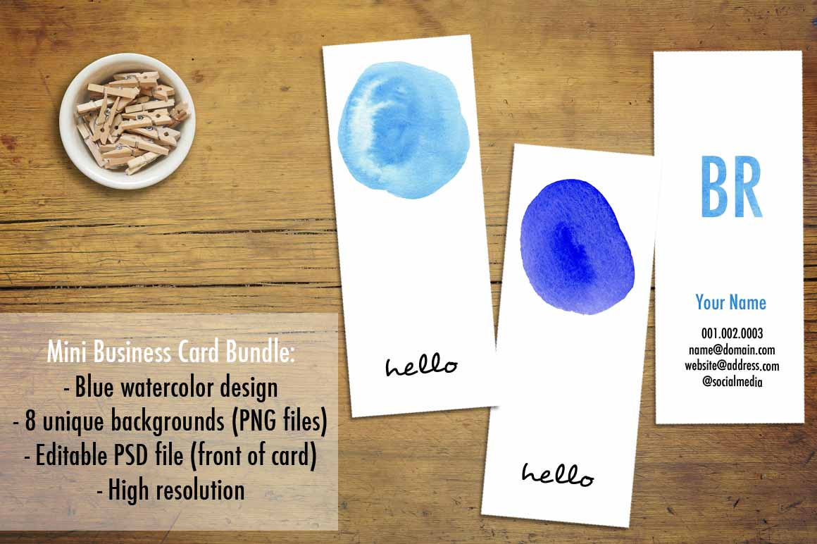 Mini business cards blue watercolor business card for Mini business card