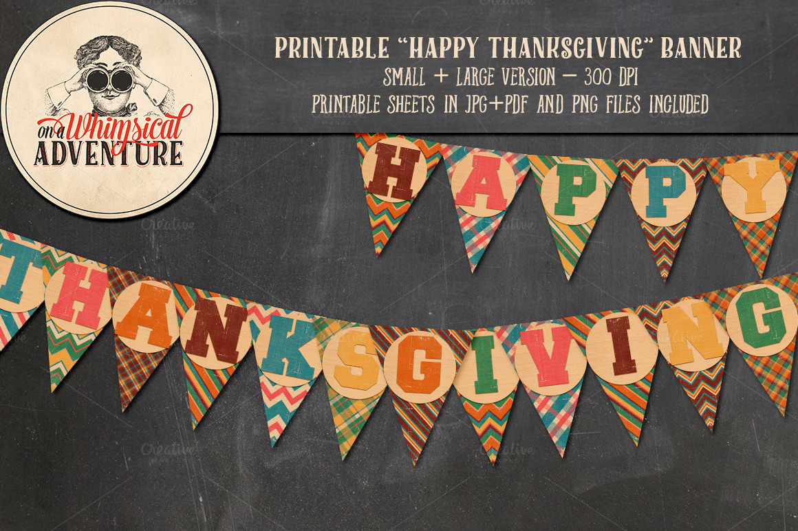 Printable happy thanksgiving banner objects on creative market for Happy thanksgiving banners