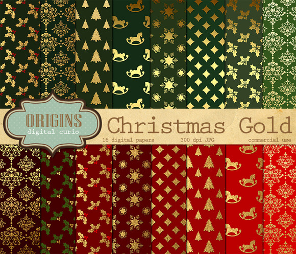 Christmas Gold Digital Paper