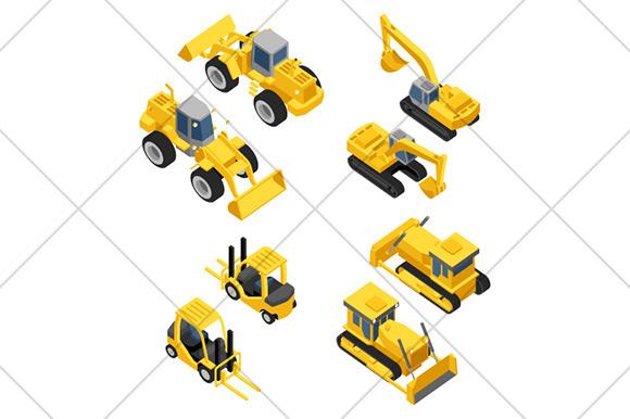 Mining Machinery Isometric Icons