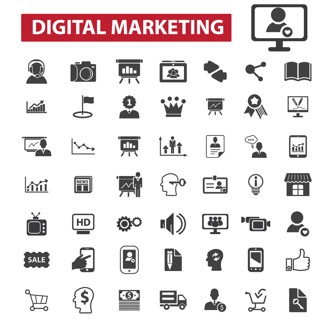 Digital Marketing Icons Icons On Creative Market