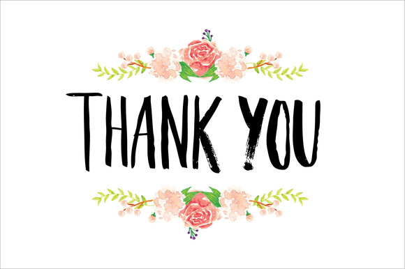 Thank You Typography Flowers Vector