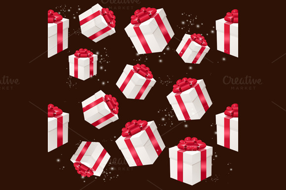 Pattern with Present Box. Vector - Patterns