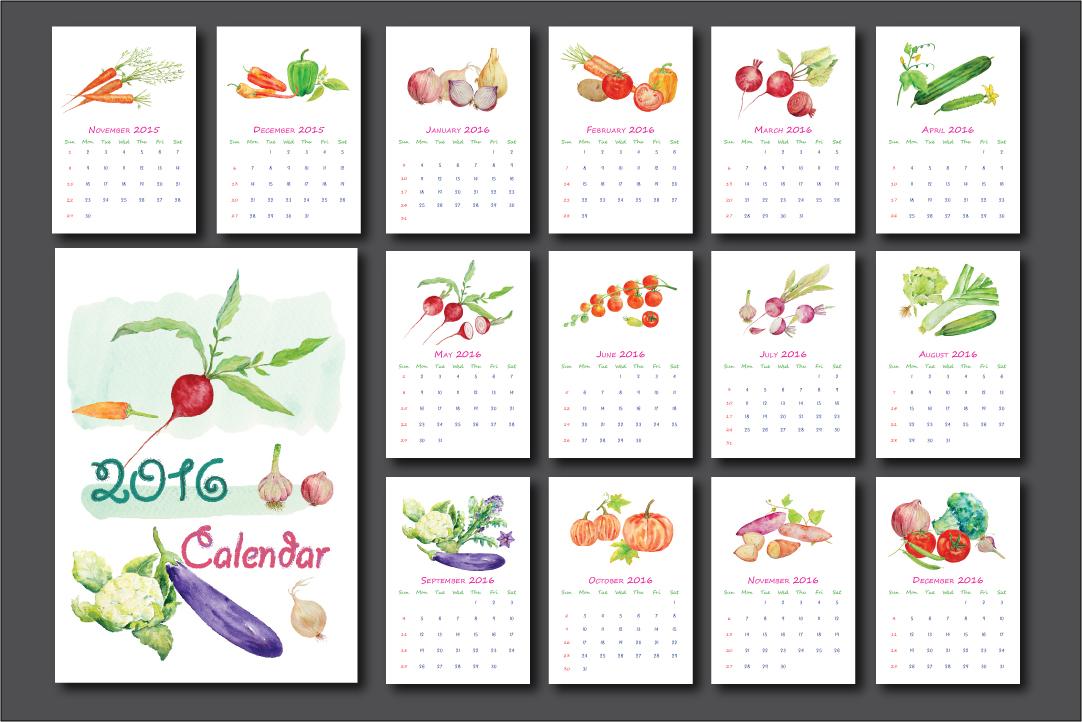 2016 calendar watercolor vegetables
