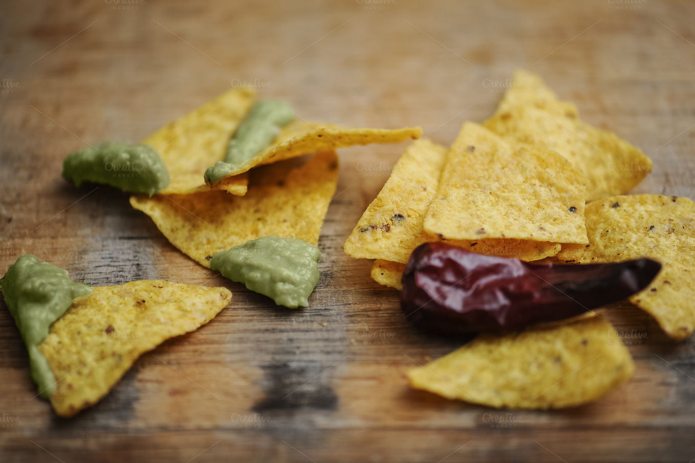 homemade guacamole with corn chips top view on wooden table ~ Food ...