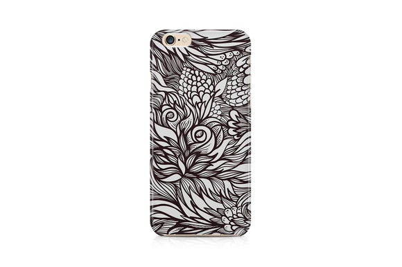 Grayscale Floral Design For Mobile