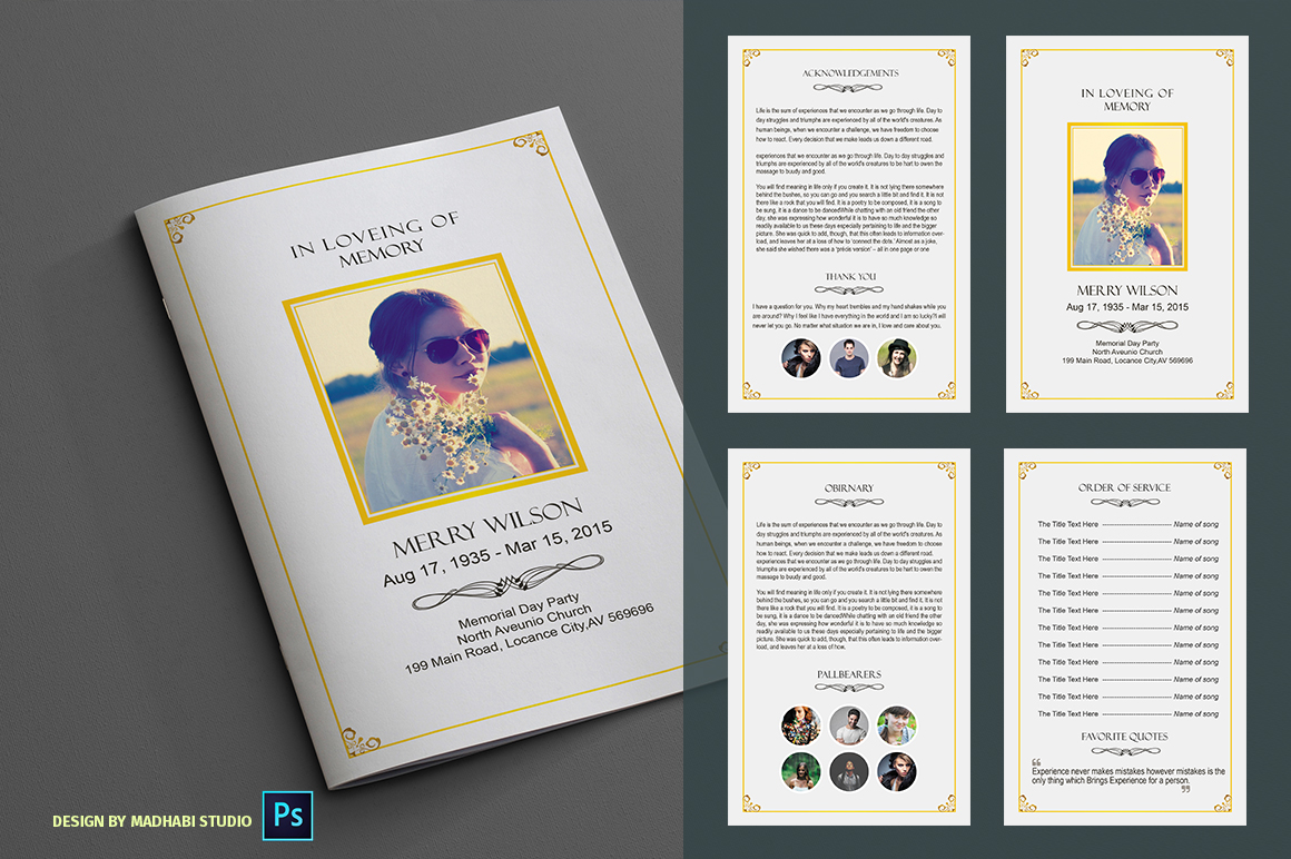 In loveing of memory funeral program brochure templates for Funeral brochure template