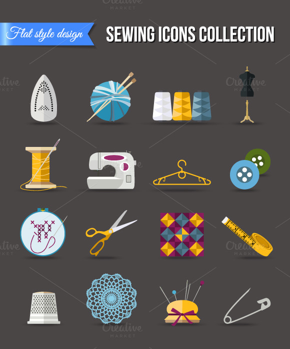 Handmade And Sewing Icons Set