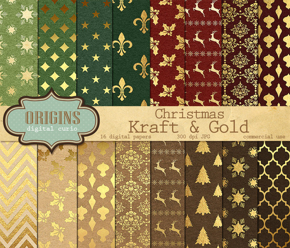 Christmas Kraft Gold Digital Paper