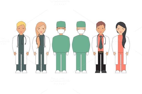 Doctor, nurse and surgeon. Vector. - Illustrations