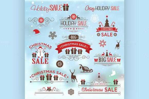 Christmas Sale Design Set Labels