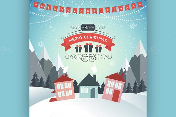 New Year. Winter holidays landscape. - Illustrations