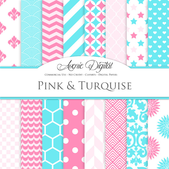Turquoise And Pink Digital Paper