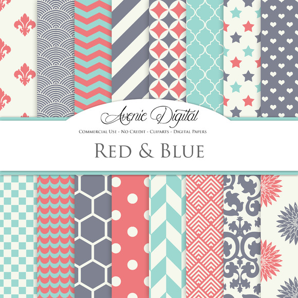 Red Teal And Blue Digital Paper