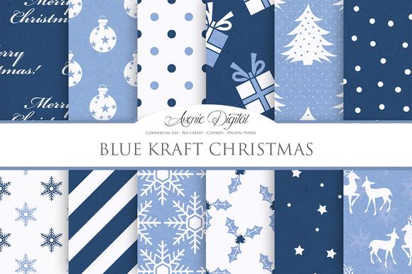 Navy Blue Christmas Digital Paper