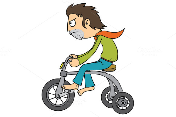 Man Using Tiny Bicycle