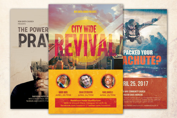 Revival church flyer bundle flyer templates on creative for Free church revival flyer template