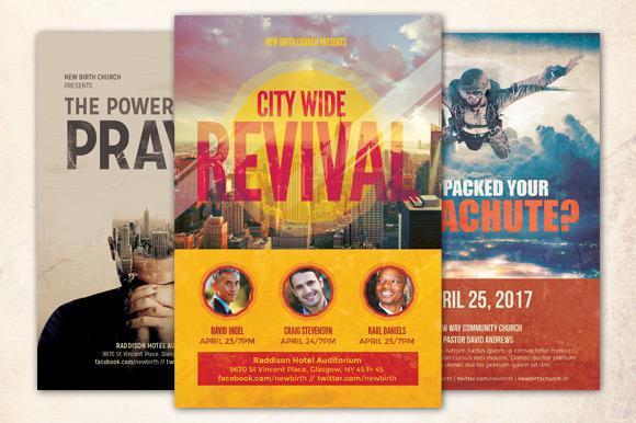 revival church flyer bundle flyer templates on creative market. Black Bedroom Furniture Sets. Home Design Ideas
