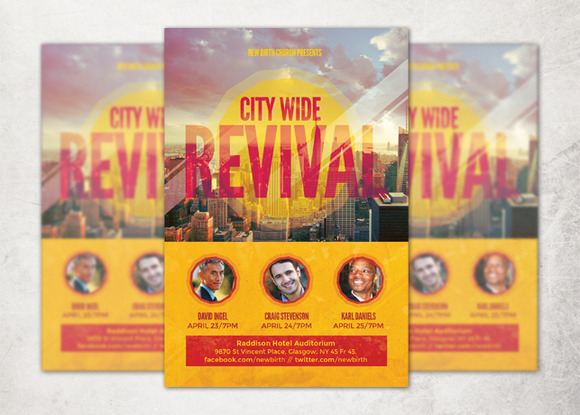 revival church flyer bundle flyer templates on creative. Black Bedroom Furniture Sets. Home Design Ideas