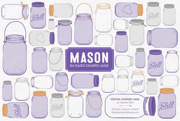Purple Jar Vectors Clipart