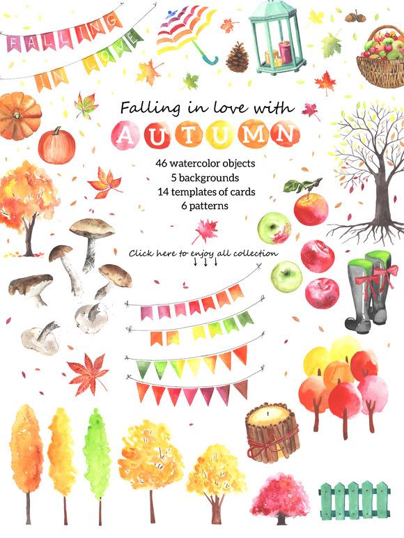 Big autumn set. Watercolor - Illustrations