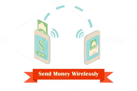 Send Money Wireless Isometric Illust