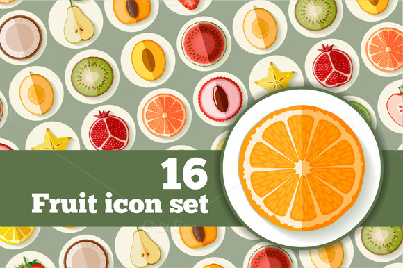 Fruit Icons In Flat Style