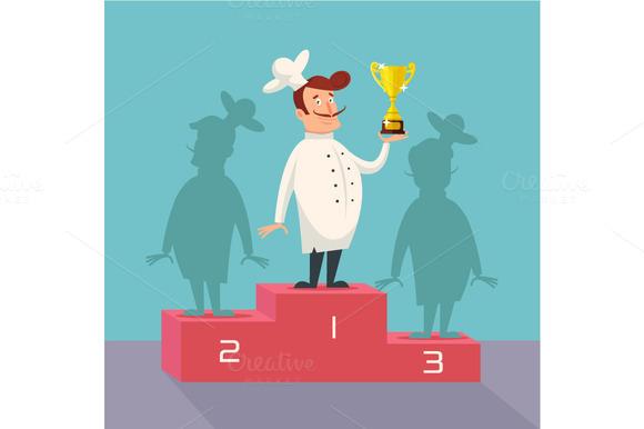Chef winner. Vector flat illustratio - Illustrations