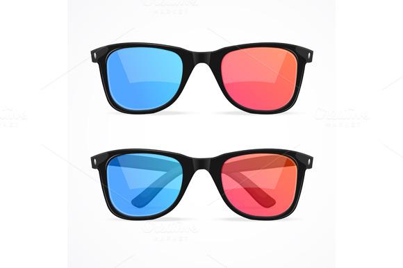 Glasses For Cinema Set Vector