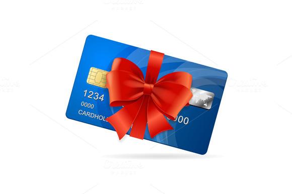 Credit Card Present. Vector - Illustrations