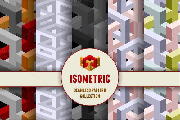 Isometric Seamless Patterns Set