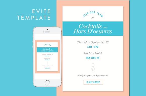 Cocktail Party Evite PSD Template