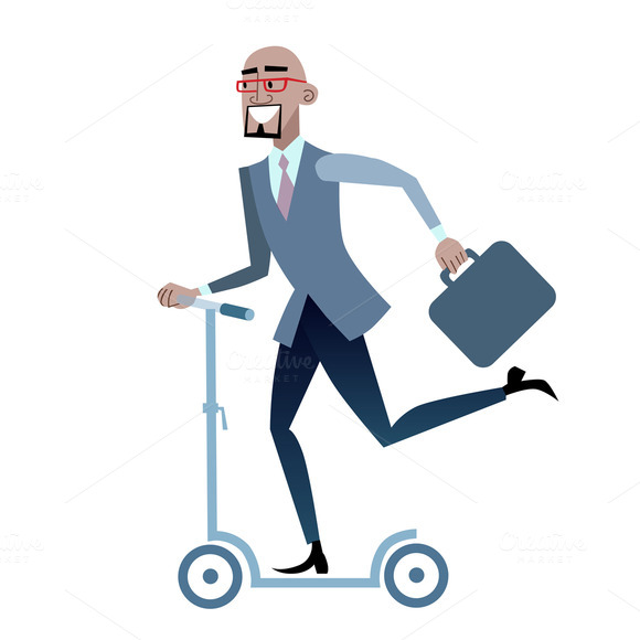 African Businessman On A Scooter