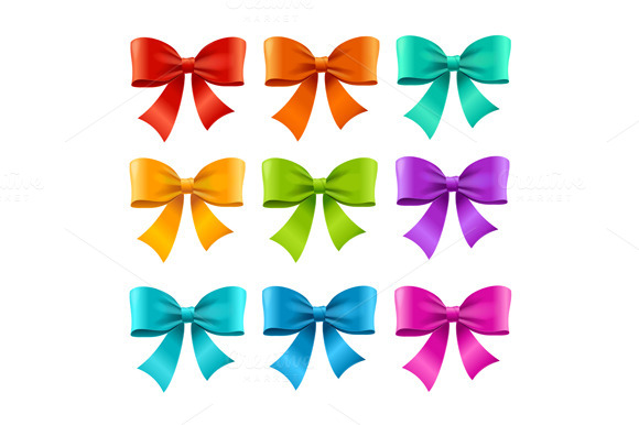 Bow Ribbon Colorful Set. Vector - Objects
