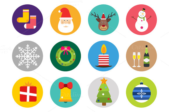Christmas Objects Vector Icons Set