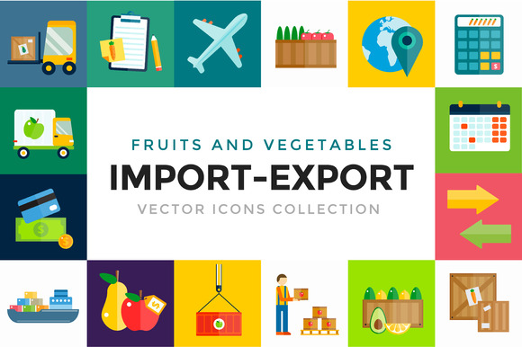 Import Export Fruits Vector Icons